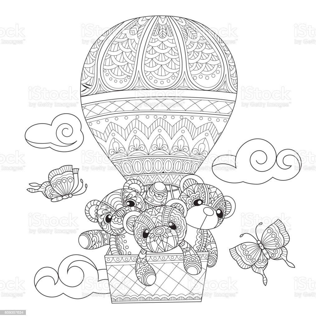 Hand Drawn Teddy Bears In The Balloon For Adult Coloring ...