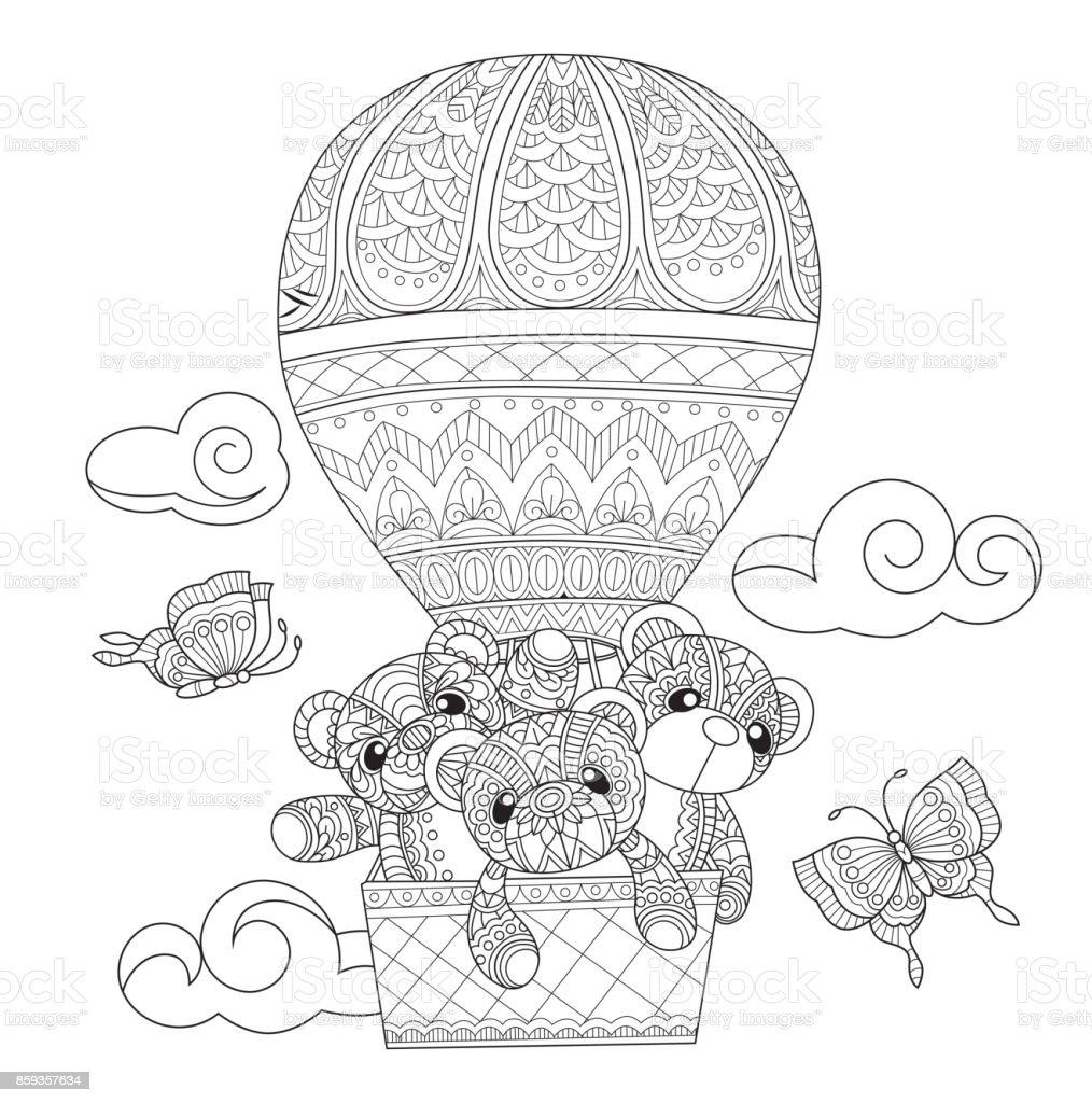 Hand dras nallar i ballongen för vuxen målarbok. vektorkonstillustration