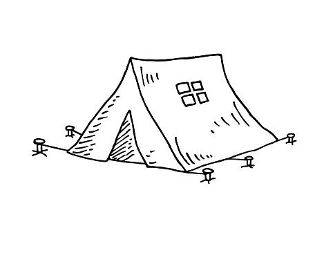 Hand drawn tent vector illustration
