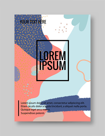 Hand drawn texture posters. Abstract doodle banners with modern trendy geometric shapes and grunge textures. Vector set stock illustration