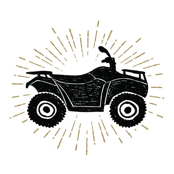 Hand drawn textured icon with quad bike vector illustration Hand drawn textured icon with quad bike vector illustration. quadbike stock illustrations
