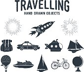 Hand drawn textured travel icons set.
