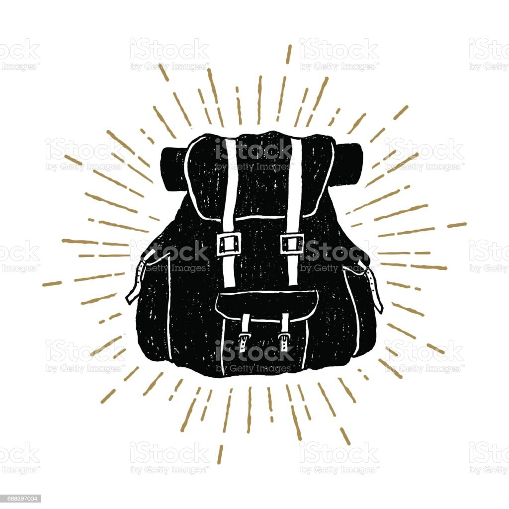Hand drawn textured vintage icon with a backpack vector illustration векторная иллюстрация