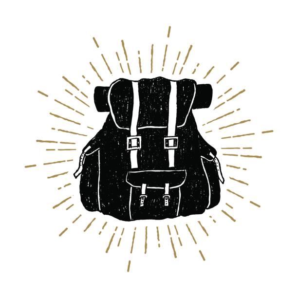 Bекторная иллюстрация Hand drawn textured vintage icon with a backpack vector illustration