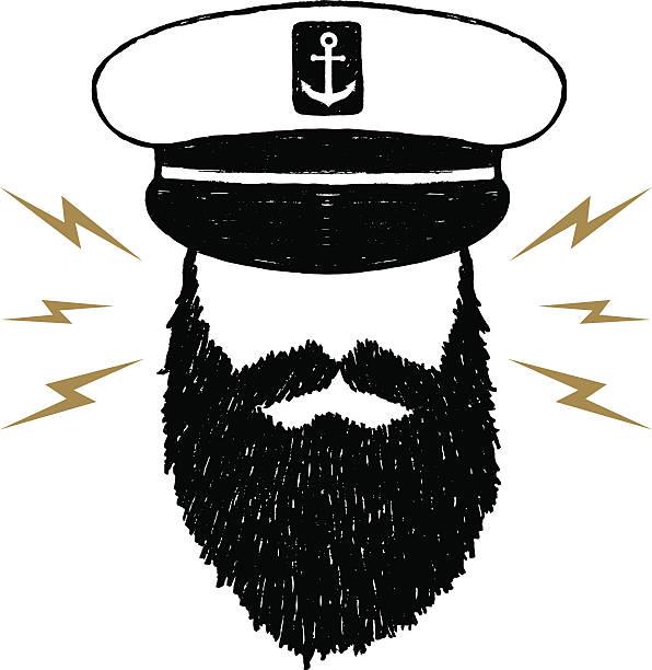 handgezeichnet strukturierte vintage-symbol mit kapitän vektor-illustration - matrosenmütze stock-grafiken, -clipart, -cartoons und -symbole