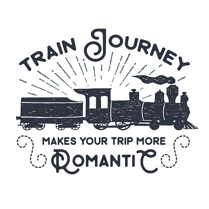 Hand drawn textured vintage label, retro badge with steam train vector illustration.