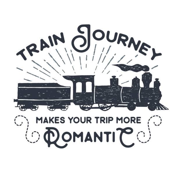ilustraciones, imágenes clip art, dibujos animados e iconos de stock de dibujado a mano con textura etiqueta vintage, retro insignia con la ilustración de vector de tren de vapor. - tren