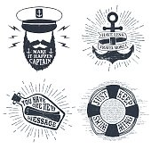 Hand drawn textured vintage labels set with captain, anchor, lifebuoy, letter in a bottle vector illustrations, and inspirational lettering.