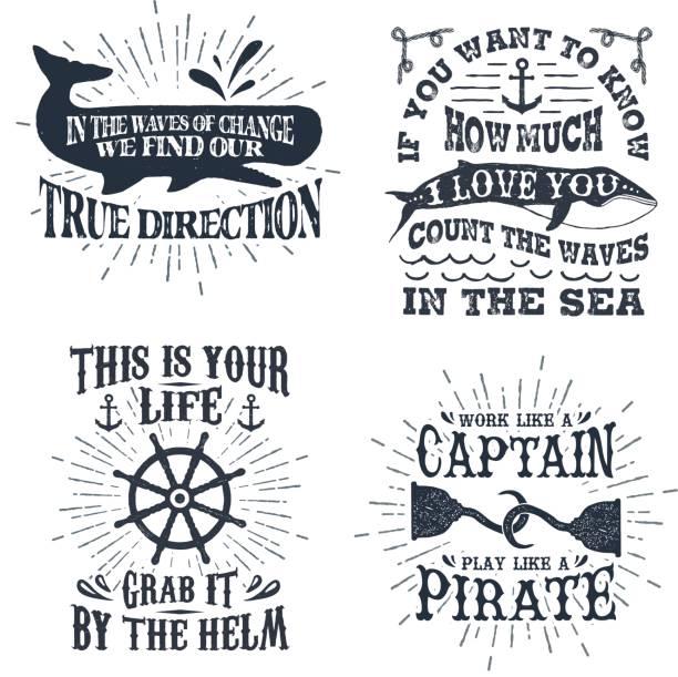 handgezeichnete texturiert vintage etiketten set mit vektor-illustrationen und schriftzug. - piratenschrift stock-grafiken, -clipart, -cartoons und -symbole