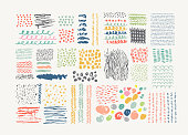 Hand Drawn textures made with ink. Vector. Isolated.