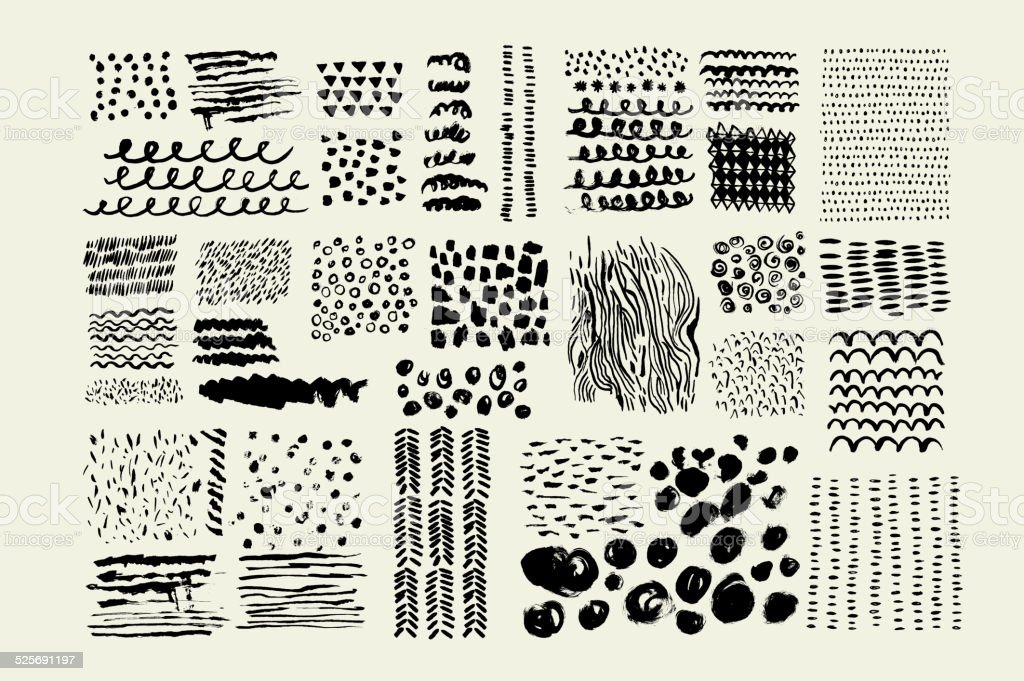 Hand Drawn textures made with ink. Vector. Isolated. vector art illustration
