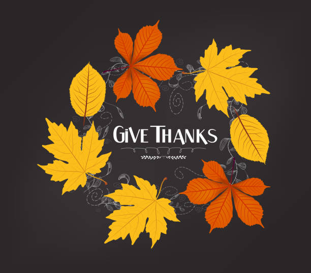 hand drawn thanksgiving greeting card with leaves - vielen dank stock-grafiken, -clipart, -cartoons und -symbole