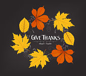 Hand drawn thanksgiving greeting card with leaves