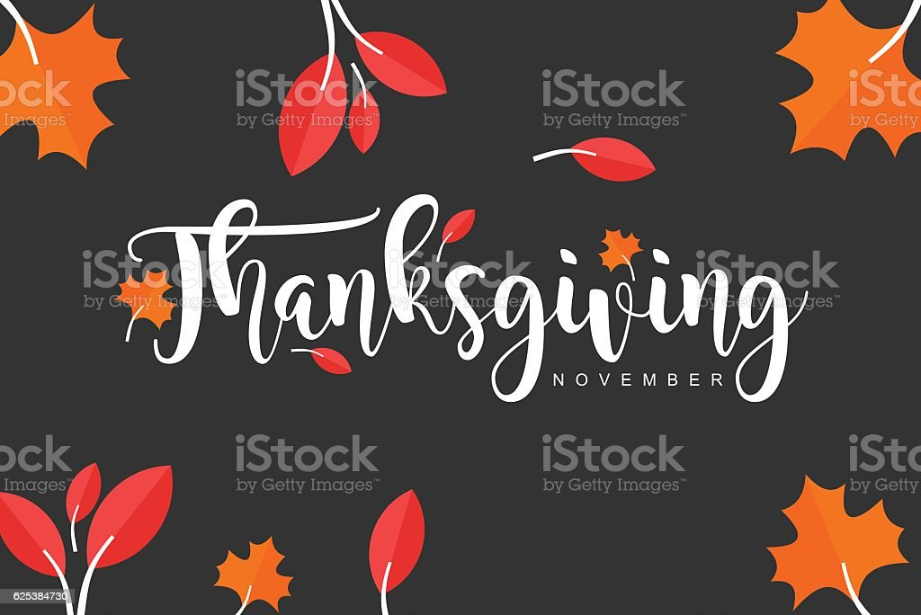 Hand drawn Thanksgiving typography vector art illustration