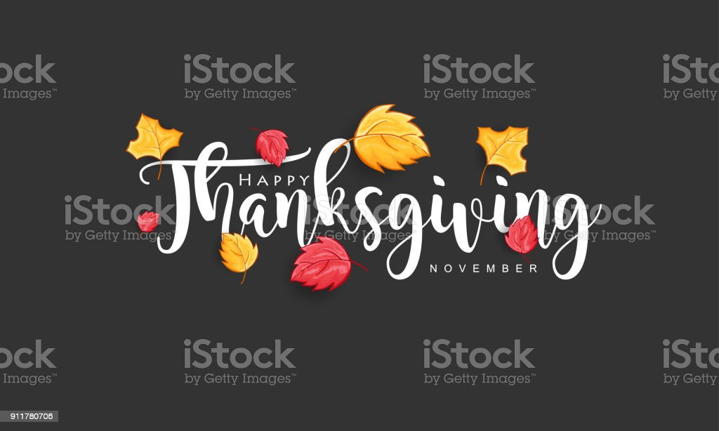 Hand drawn Thanksgiving typography with leaves vector art illustration
