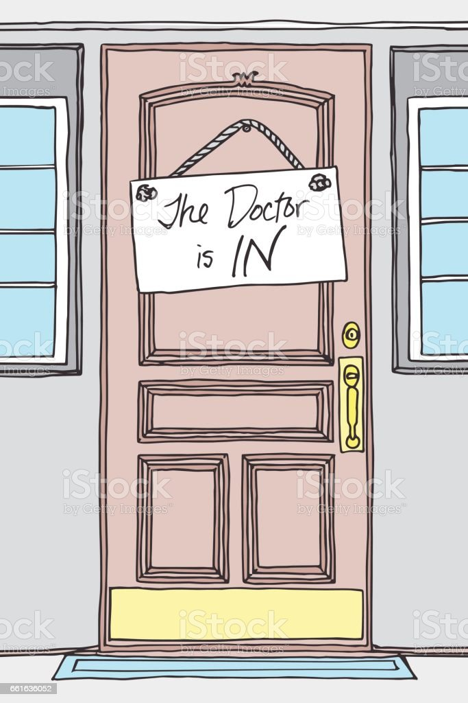 Hand Drawn The Doctor is IN! Sign on a Doctor\u0027s Office Door royalty-free  sc 1 st  iStock & Hand Drawn The Doctor Is In Sign On A Doctors Office Door Stock ...