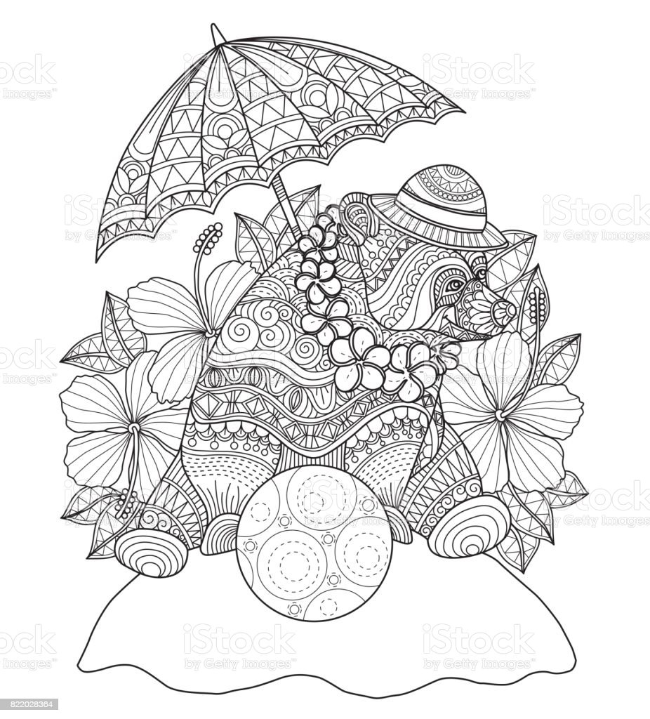 Hand drawn The relaxed bear on summertime for adult coloring page. vector art illustration