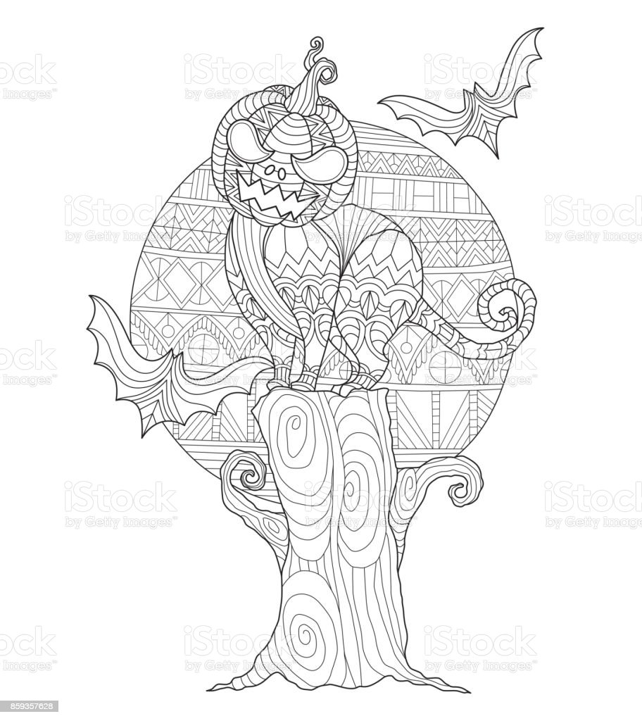 Handgezeichnete The Witch Und Halloweenkürbis Für Erwachsene
