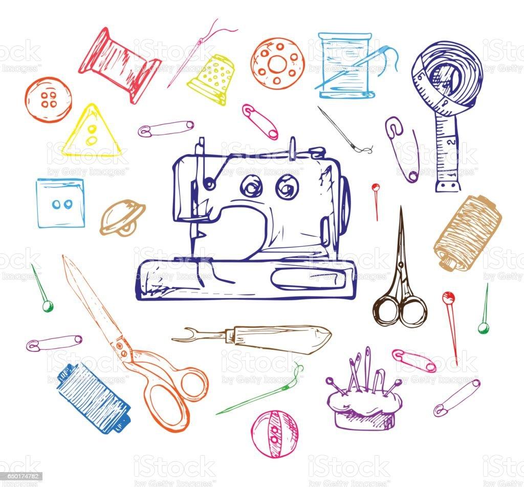 Hand drawn thread, needle, scissors, ball of yarn, knitting needles, crochet. Vector illustration in a sketch style. vector art illustration