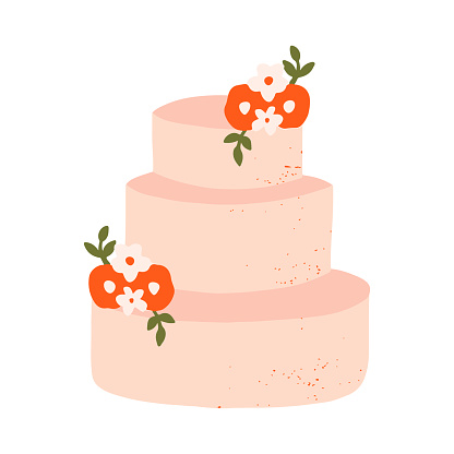 Hand drawn three floor wedding cake decorated with flowers vector illustration