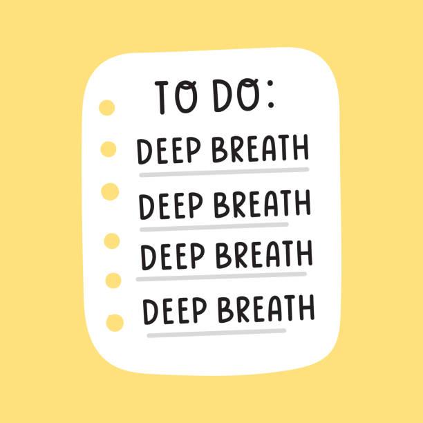 Hand drawn to do list: deep breathe. Vector illustration on yellow background. deep stock illustrations