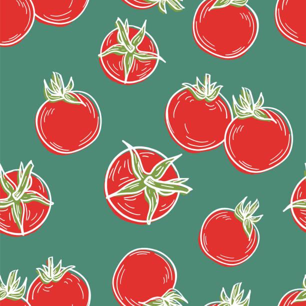 Hand Drawn Tomatoes Seamless Pattern vector art illustration