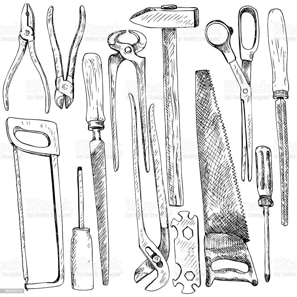 Hand drawn tool kit vector art illustration