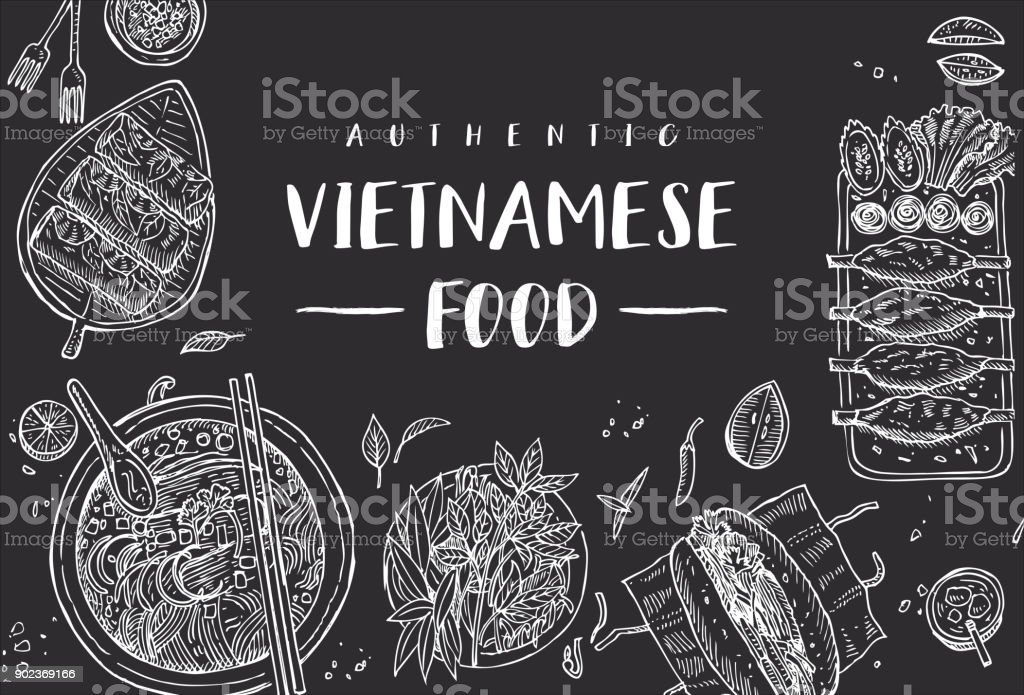 Hand drawn top view traditional Vietnamese food on a black board, Vector Illustration vector art illustration