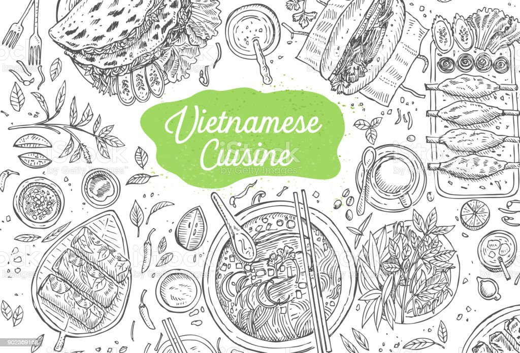Hand drawn top view traditional Vietnamese food, Vector Illustration vector art illustration