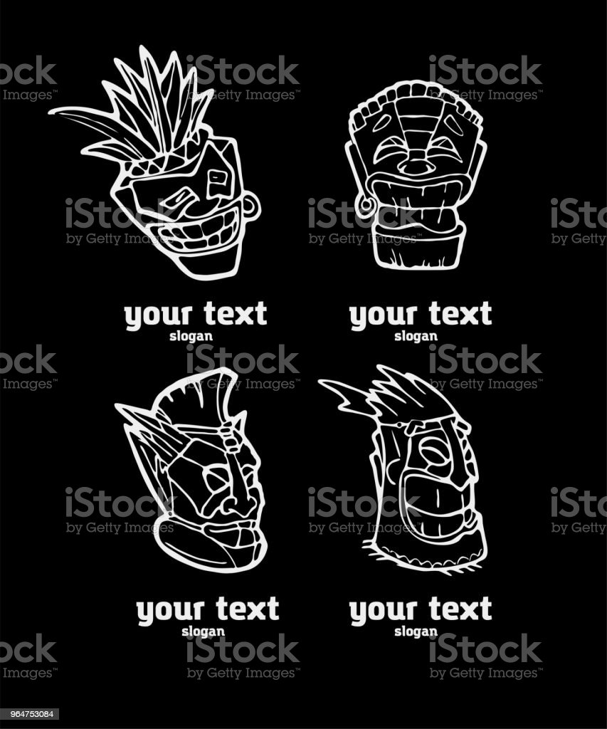 Hand drawn totem face symbol set royalty-free hand drawn totem face symbol set stock vector art & more images of ancient