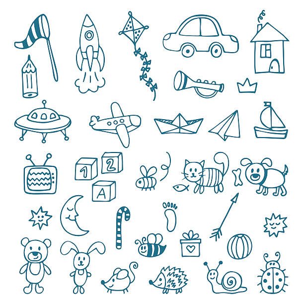 hand drawn toys for boys. vector set of different toys - kids drawing 幅插畫檔、美工圖案、卡通及圖標