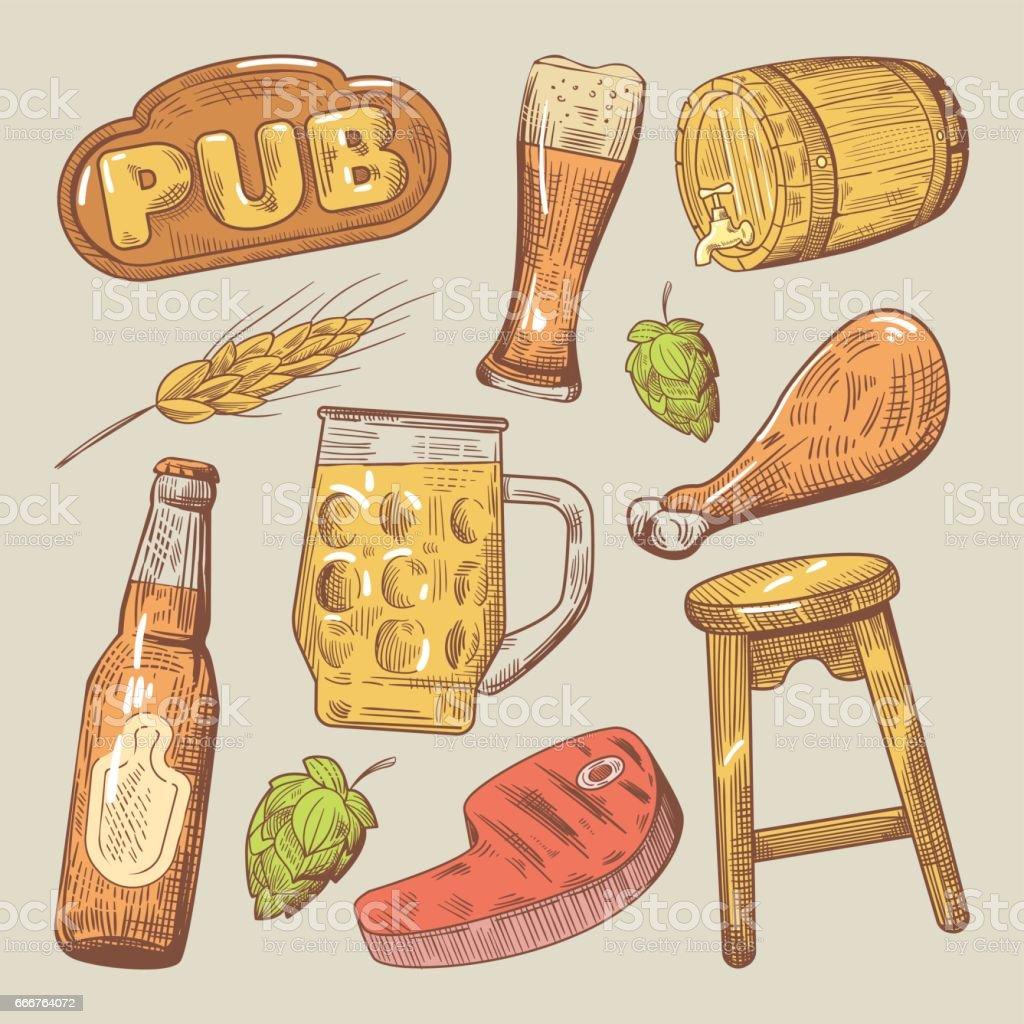 Hand drawn Traditional Pub Beer Doodle hand drawn traditional pub beer doodle - immagini vettoriali stock e altre immagini di alchol royalty-free