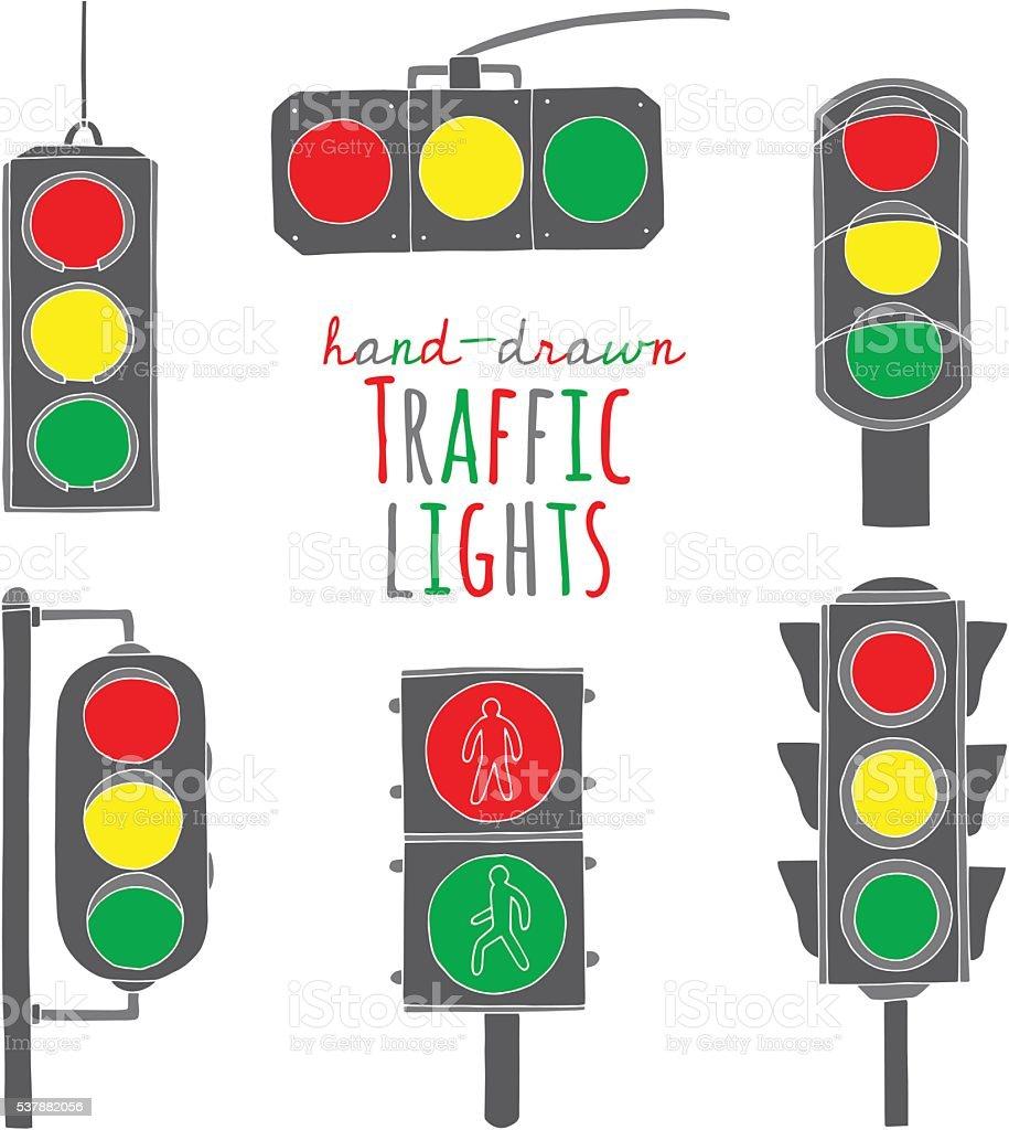 Hand drawn traffic light set vector art illustration