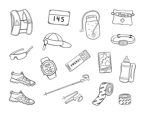 Hand drawn trail running equipment and accessories