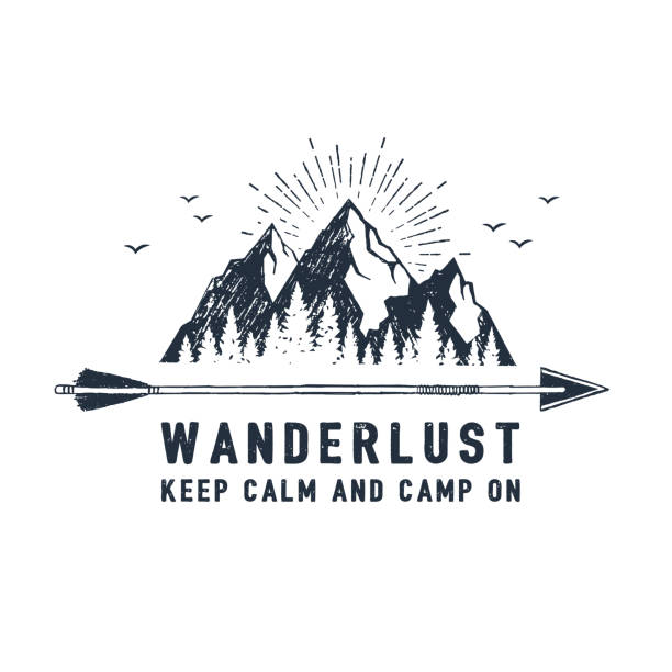 "Hand drawn travel badge with textured vector illustration. Hand drawn travel badge with mountains textured vector illustration and "" Wanderlust. Keep calm and camp on"" inspirational lettering. mountains stock illustrations"