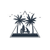 Hand drawn travel badge with palm trees and scooter textured vector illustrations.