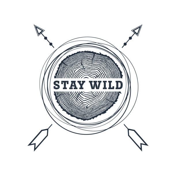 hand gezeichnet reisen abzeichen mit strukturierten vektor-illustration. - stammes tattoos stock-grafiken, -clipart, -cartoons und -symbole