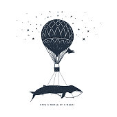 "Hand drawn travel badge with whale on a hot air balloon textured vector illustration and ""Have a whale of a week"" inspirational lettering."
