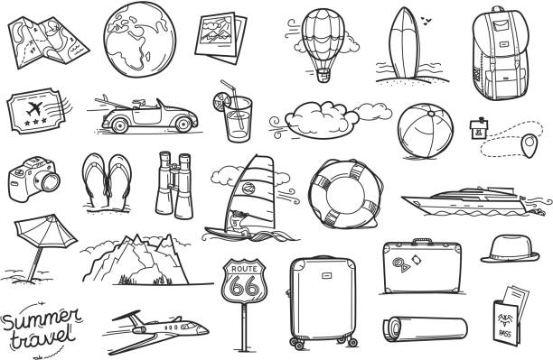 Hand drawn travel doodle elements Vector illustration adventure drawings stock illustrations