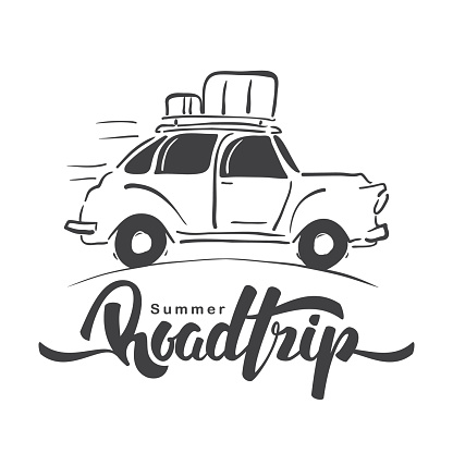 Hand drawn travel retro car with luggage on the roof and handwritten lettering of Road Trip. Sketch line design.