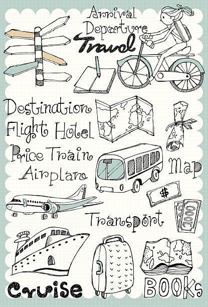 hand drawn-set 01 - tour bus stock-grafiken, -clipart, -cartoons und -symbole