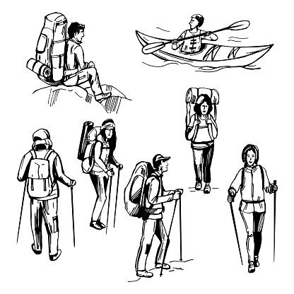Hand drawn traveler with backpack. Hiking tourists. Kayak man.