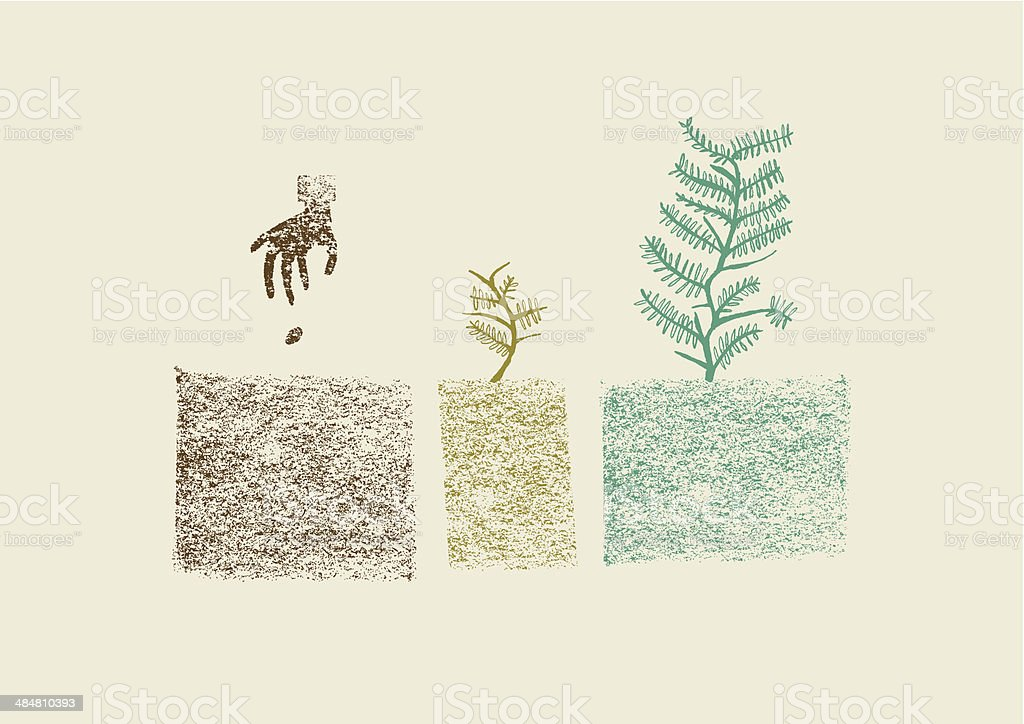 Hand drawn tree growing process in three steps vector illustration vector art illustration