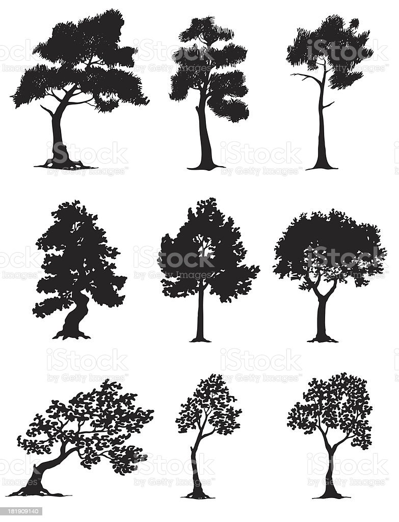 Hand drawn tree silhouettes royalty-free stock vector art