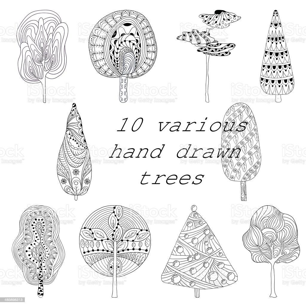 Mano disegnata albero isolato set di disegni e schizzi - illustrazione arte vettoriale
