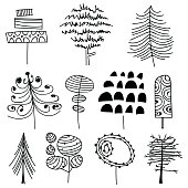 Vector illustration of a collection of black and white hand drawn trees