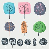 Vector illustration of a set of colorful hand drawn trees and their silhouettes