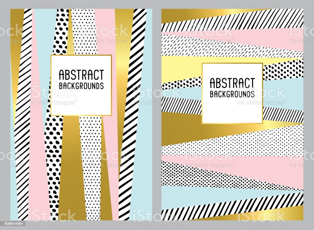 Hand drawn trendy abstract backgrounds vector art illustration