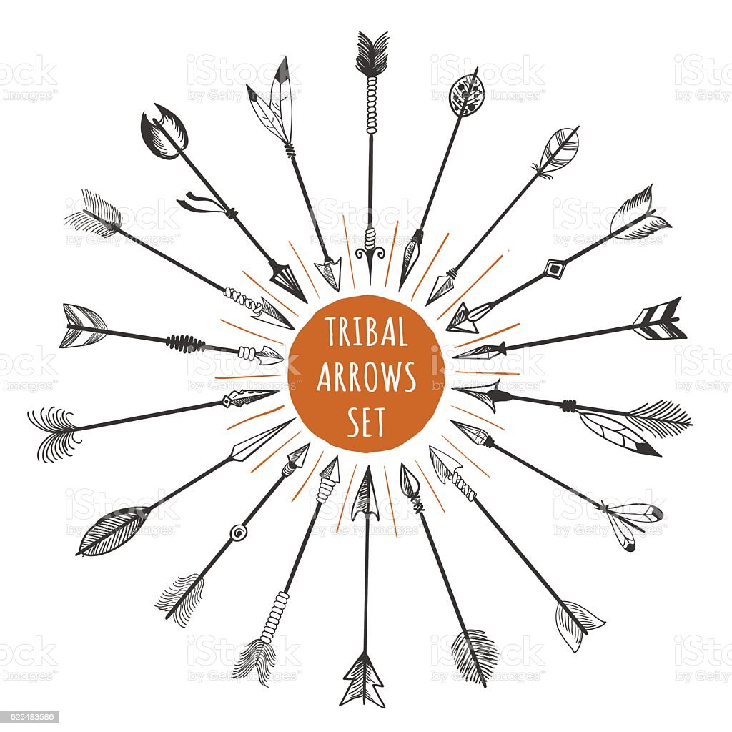 Hand drawn tribal arrows set vector art illustration