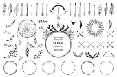 Hand drawn tribal collection with bow and arrows, feathers, dreamcatcher, horns, frame and border, floral elements for design logo, invitation and more. Vector tribal, ethnic, aztec, hipster elements isolated on white background